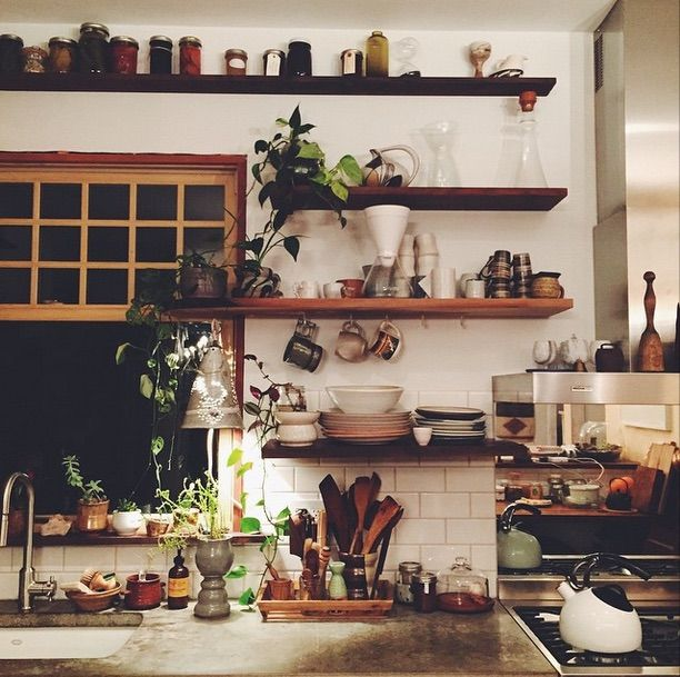 Kitchen | Interior Design | Home Decor | Vintage | Wood | Wall Shelf | Open  Storage