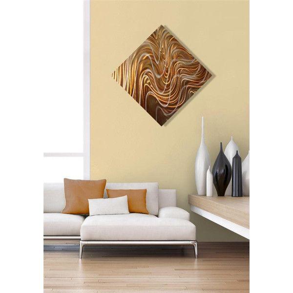 Golden Copper Modern Metal Wall Art Sculpture Abstract Metal Wall
