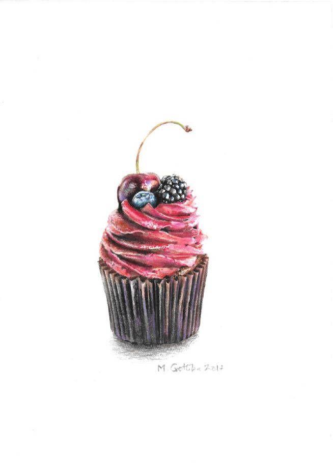original berry cupcake drawing color pencil drawing housewarming gift food illustration coffee