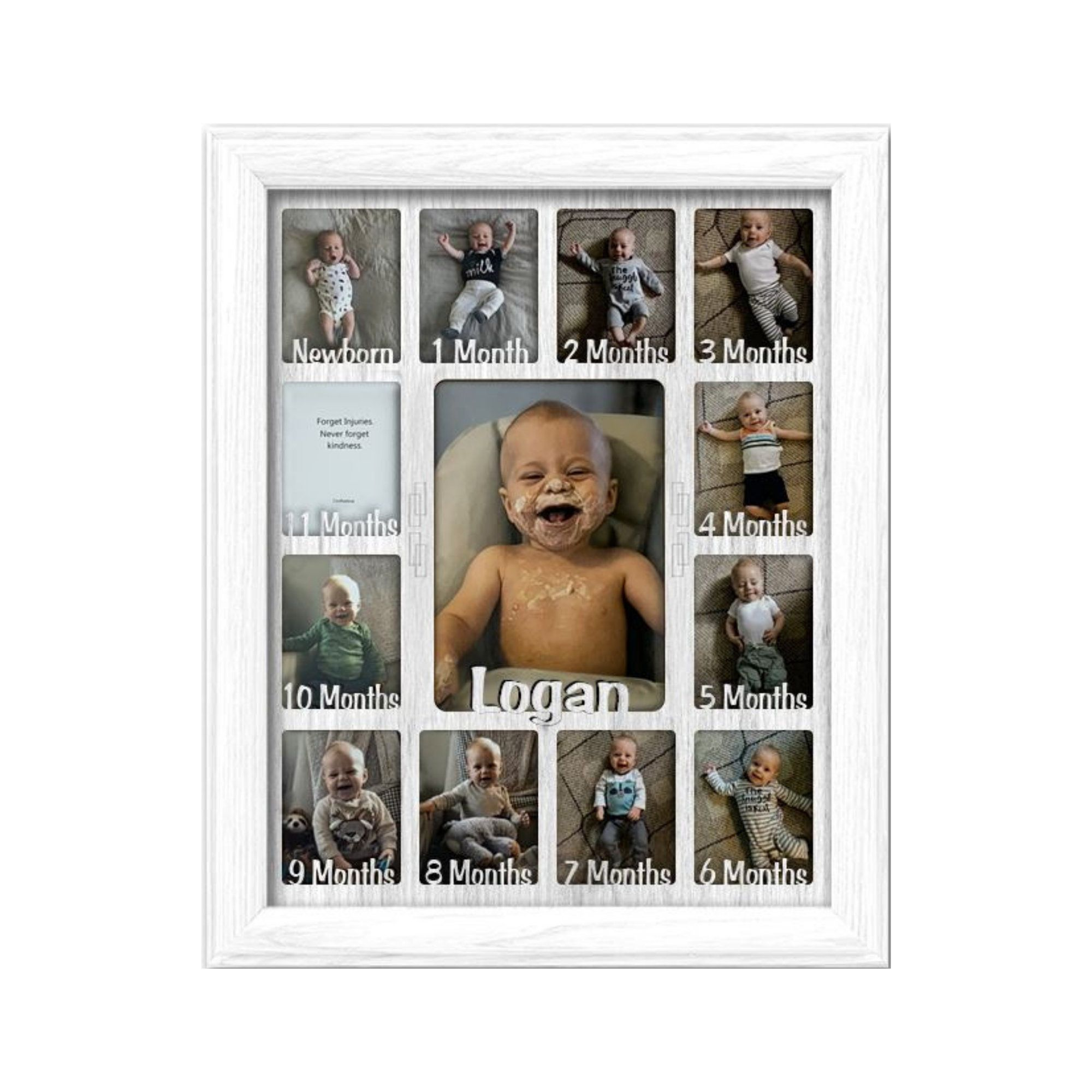 Baby First Year Personalized Frame Holds Twelve 2 5 X Etsy In 2020 Personalised Frames Nursery Gift One Year Pictures