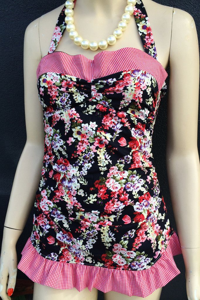 Ames-50s style floral swimsuit OMG drop dead gorgeous AMES will fabulously flatter your figure and flutter your heart this long hot summer