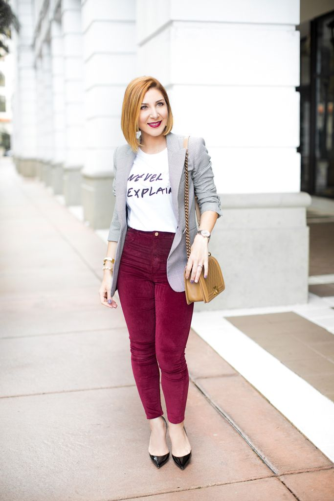 e76799a47 Blame it on Mei, @blameitonmei, Miami Fashion Blogger, How To Wear Graphic  T Shirt Checked Blazer, How to style t-shirt with high heels, Velvet  Leggings, ...