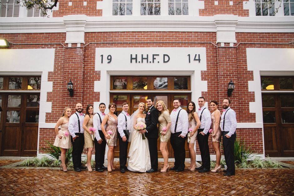 Houston Heights Fire Station Wedding Party Outside The Venue
