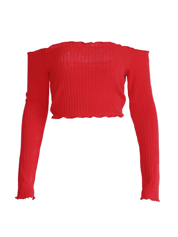 7b9d9653a1c Red Off Shoulder Frill Trim Long Sleeve Ribbed Crop Top - Choies.com ...