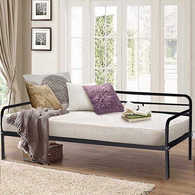 c3c1fd09d5f6 Daybed Frame Twin Metal Daybed Platform Bed Heavy Duty Steel Slats Box  Spring Foam Mattress Set Living Guest Room Children Bed Sofa Review