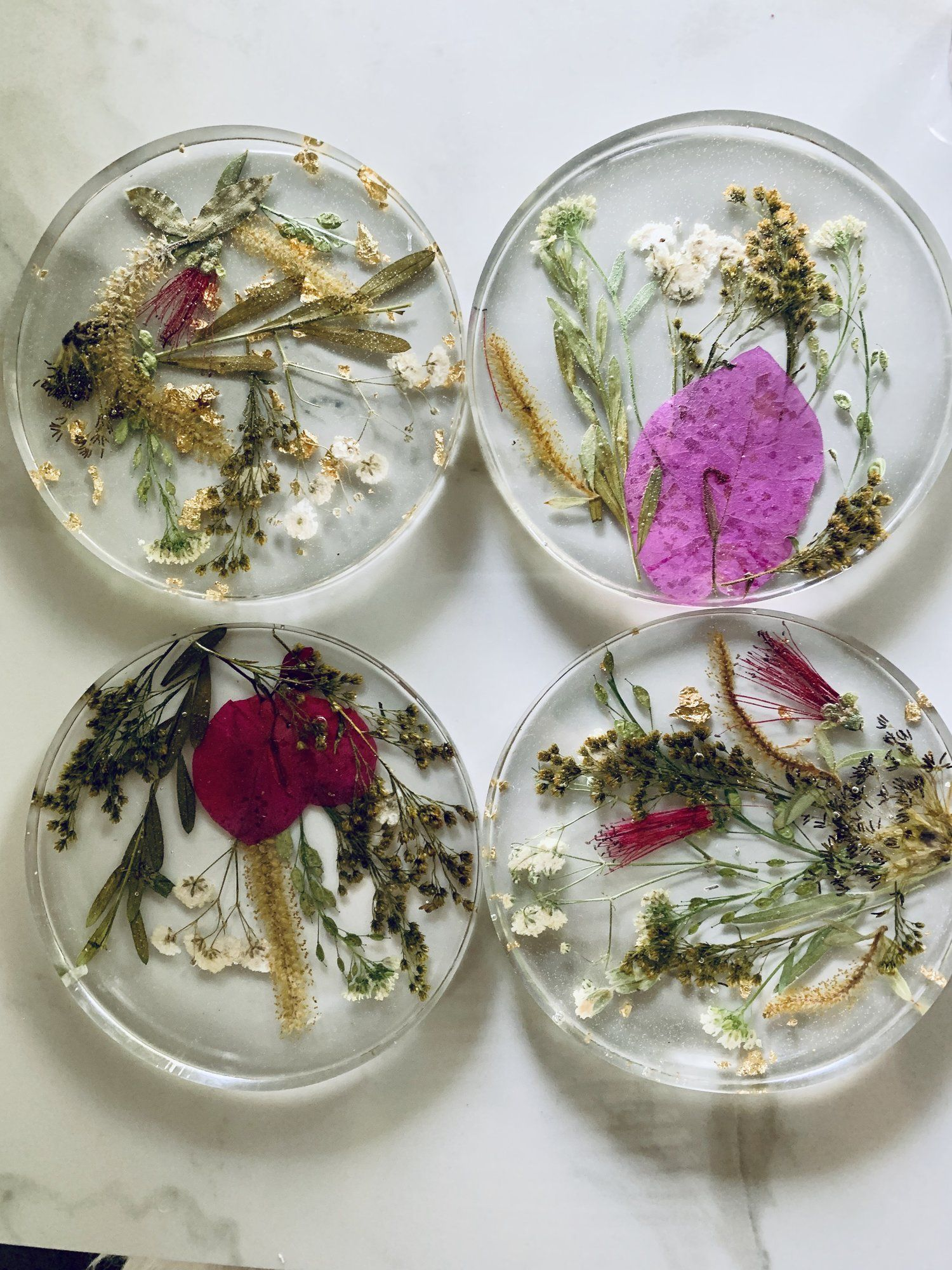 Custom Flower Coasters Resin & Pressed Flower Coasters