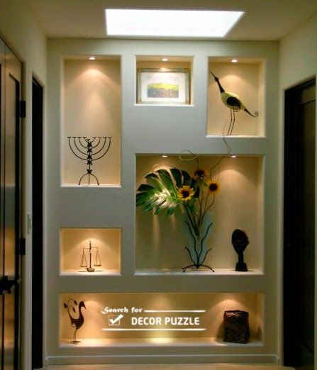 modern pop wall designs in hall shelves in pop designs - Decorative Wall Designs