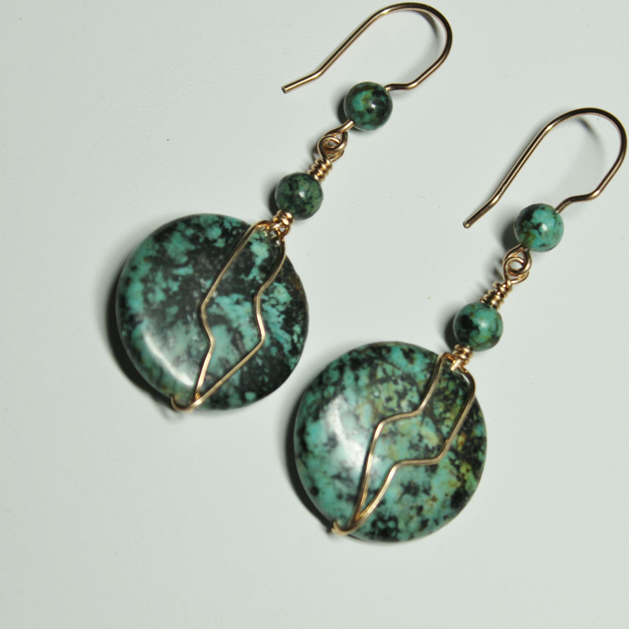 African Turquoise (Jasper) and Bronze Wire Wrapped Earrings | Jasper ...