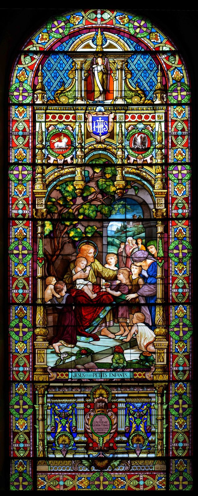 Large Stained Glass Window.Jesus And The Children This Is A Huge Stained Glass Window