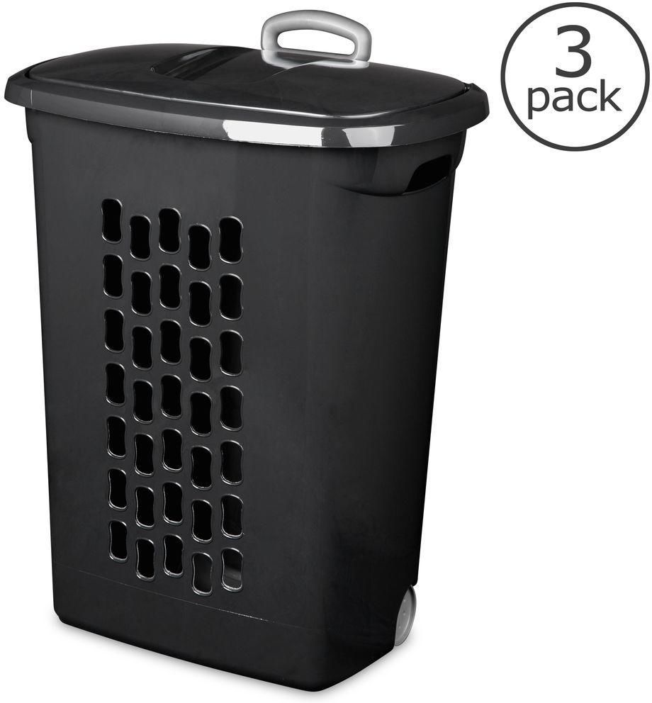 3 Pack Black Plastic Wheeled Rolling Laundry Clothes Hamper Tote