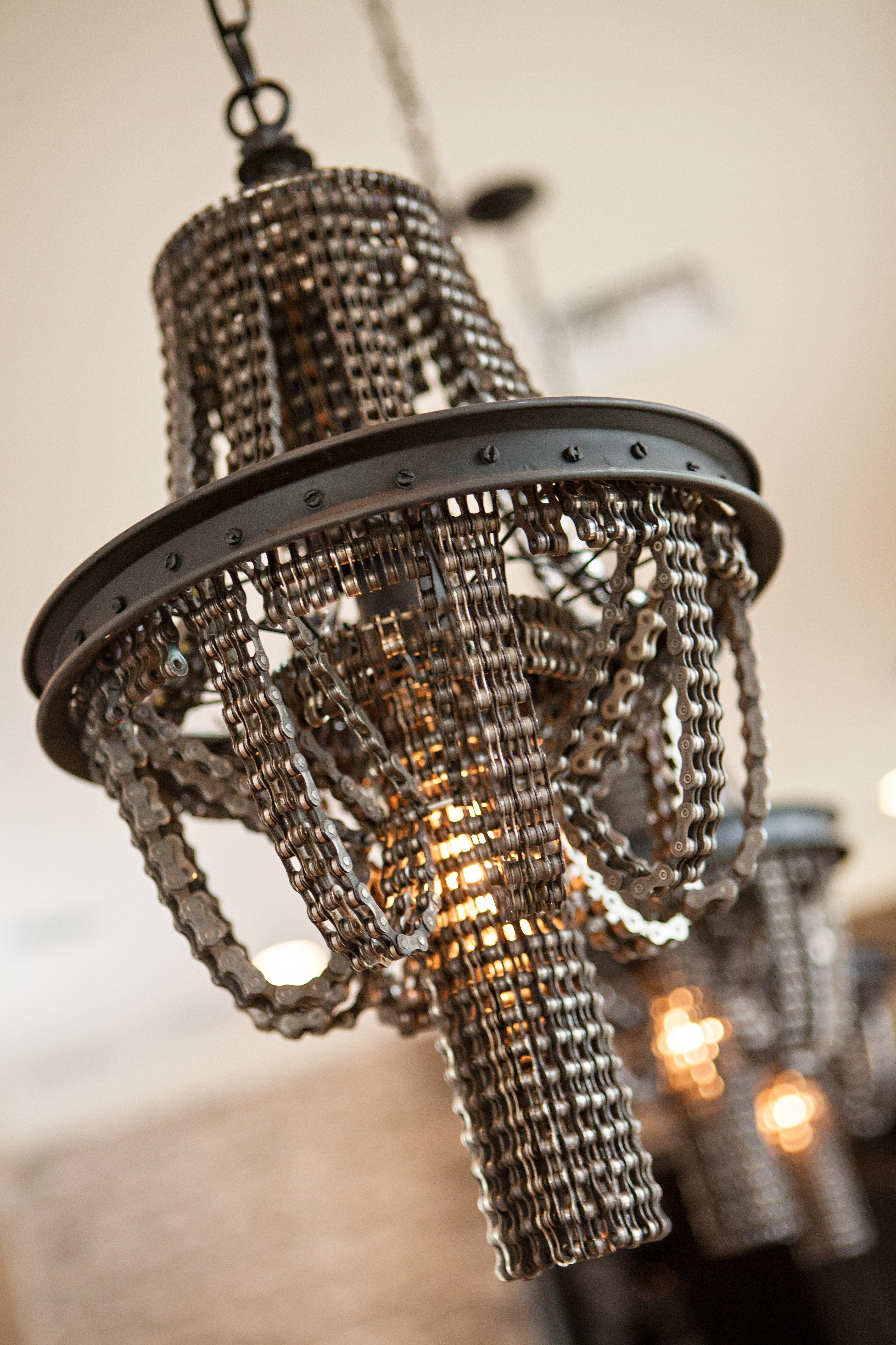 Recycled bike chain chandelier via studio ten 25 light for recycled bike chain chandelier via studio ten 25 arubaitofo Image collections