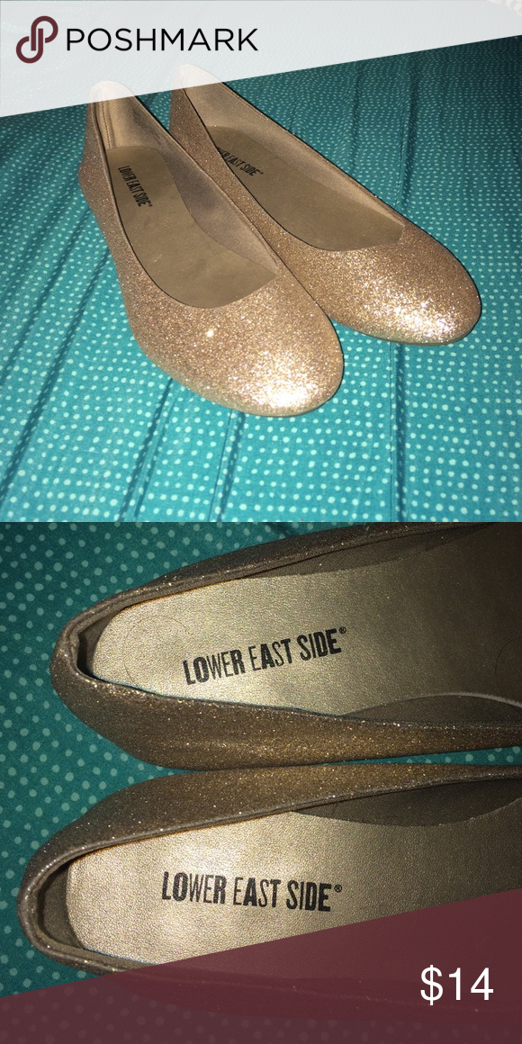 Gold, sparkly flats Never worn, in great condition. Lower East Side Shoes Flats & Loafers