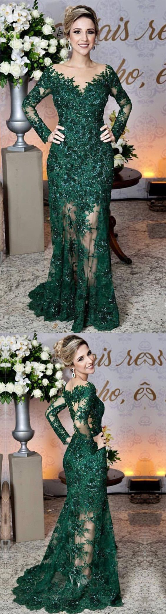 Emerald green lace long sleeves mermaid prom dresses see through