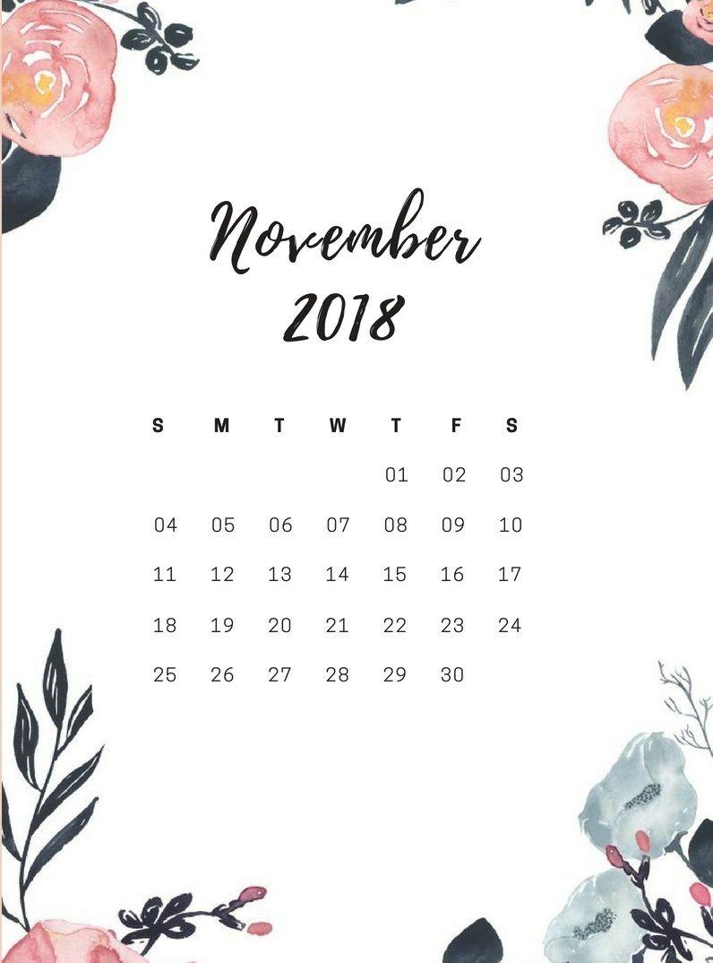 November 2018 Calendar for iPhone. calendars
