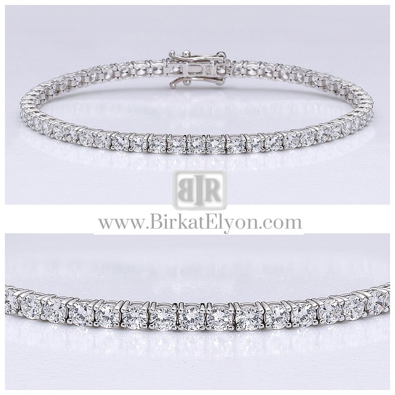 This popular ccbic zirconia tennis bracelet features 0.10 carat each (3mm) brilliant round stones prong set in 14k white gold. An approximate 5.70 total carat weight. This high quality cubic zirconia bracelet is 7 inches long, also available in different lengths via special order. - See more at: http://www.birkatelyon.com/cubic-zirconia-bracelets/round-B7243W#sthash.ghVa8MRz.dpuf