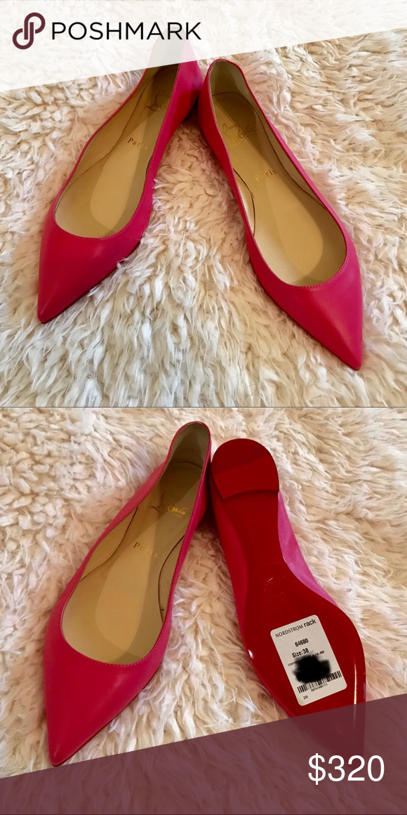 63166fe3b29 Christian Louboutin Pink Ballalla Leather Flats Authentic and new w tags Christian  Louboutin smooth nappa leather