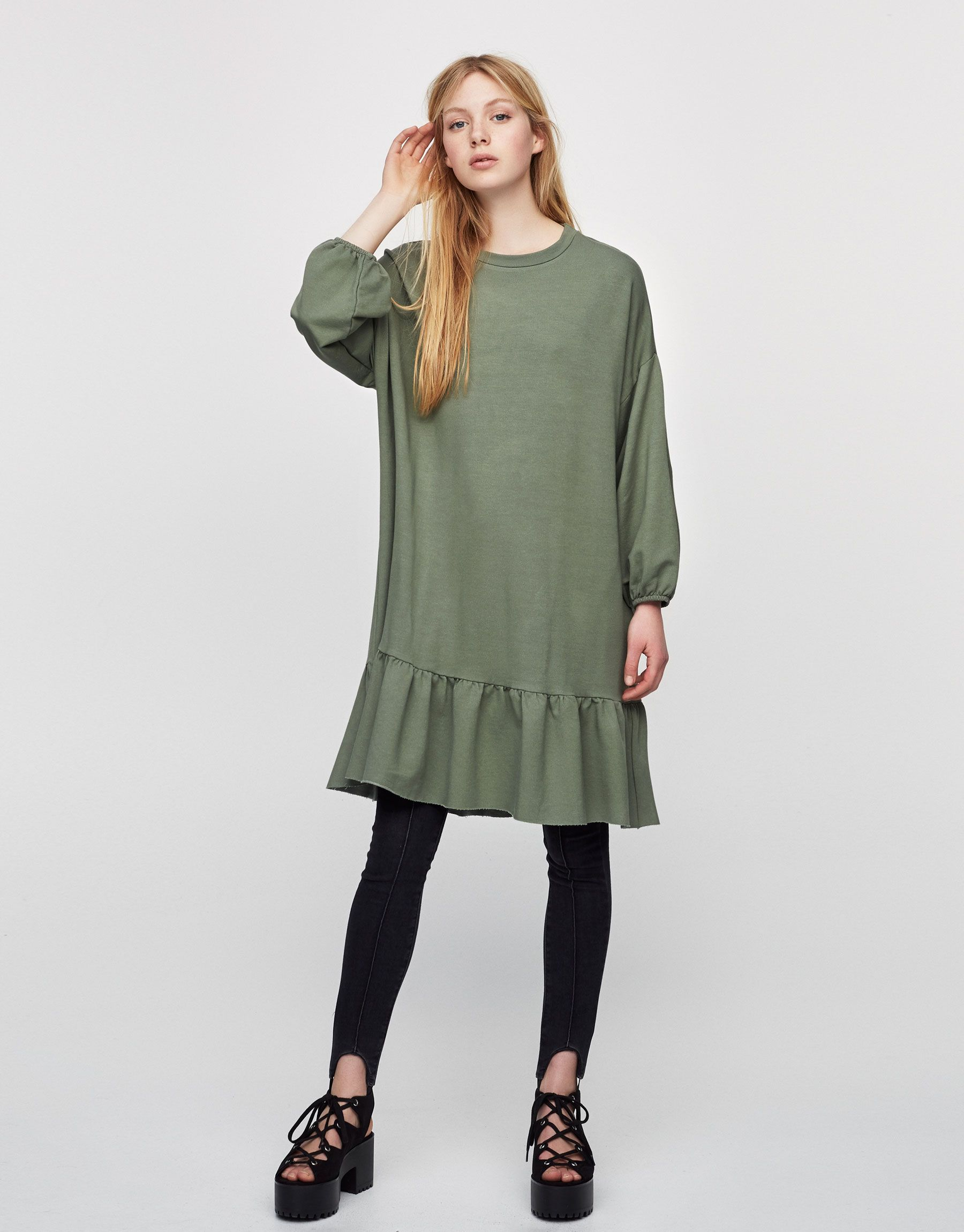 Dress with frilled hem - Dresses - Clothing - Woman - PULL&BEAR Mexico
