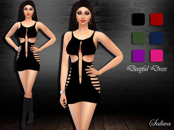 The Sims Resource: Deepful Dress by Saliwa • Sims 4 Downloads | Sims