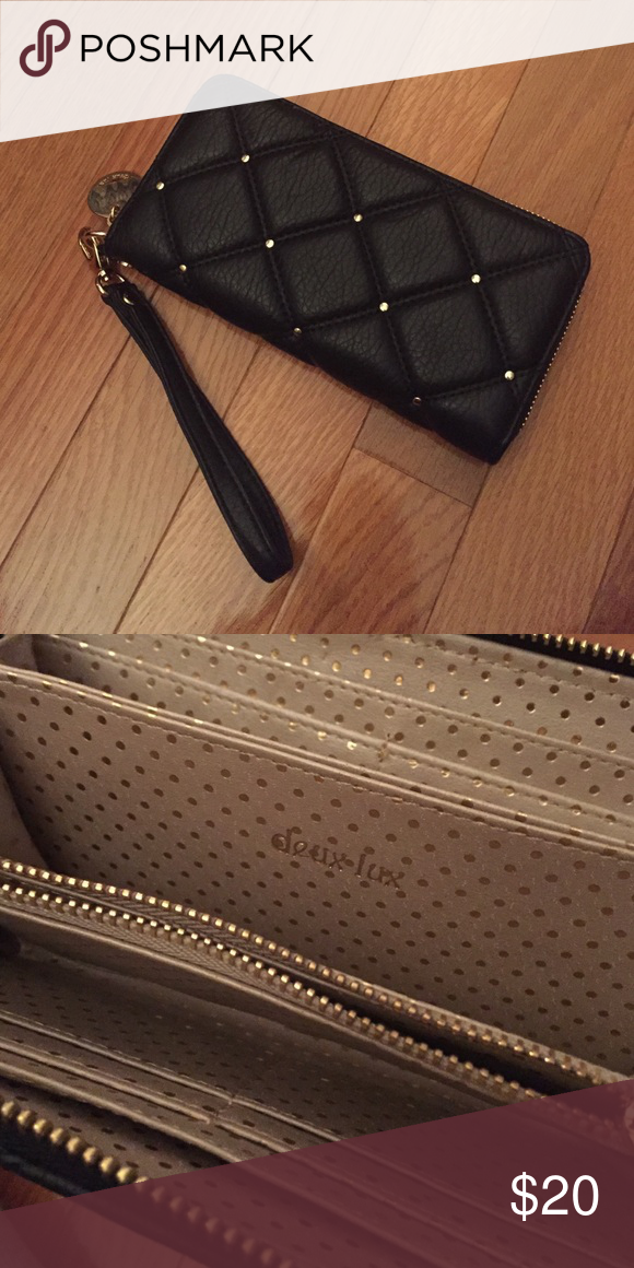Deux Lux Wristlet Wallet Super cute gold pokka dots on the interior. Never used. Deux Lux Bags Clutches & Wristlets