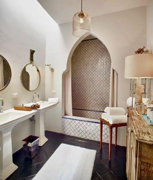 Moroccan Inspired Bathroom Shower Entrance Detail Moroccan