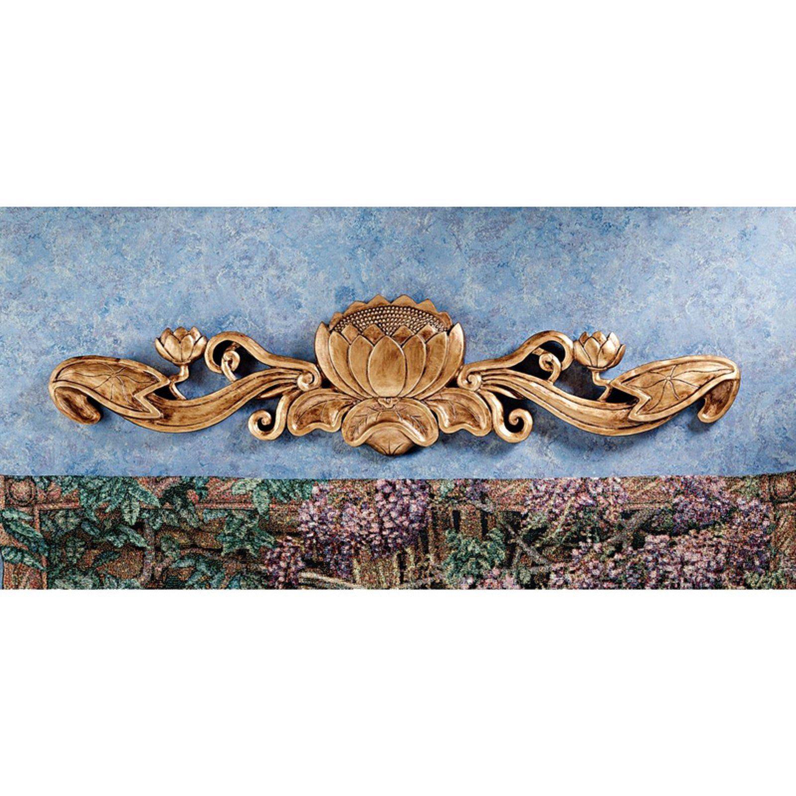 Design Toscano De Velde Water Lily Wall Pediment Art Nouveau Decor
