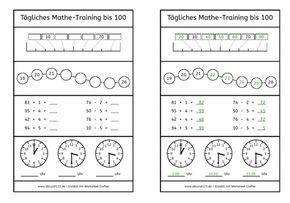 Tägliches Mathe-Training bis 100, Mathe, Übung, kostenlos ...