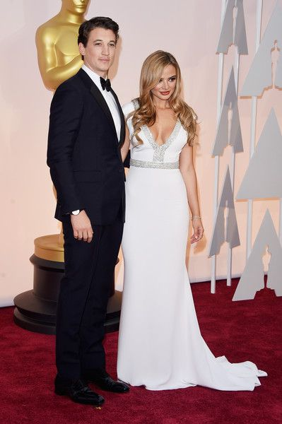 Actor Miles Teller (L) and model Keleigh Sperry attend the 87th Annual Academy Awards at Hollywood & Highland Center on February 22, 2015 in Hollywood, California.