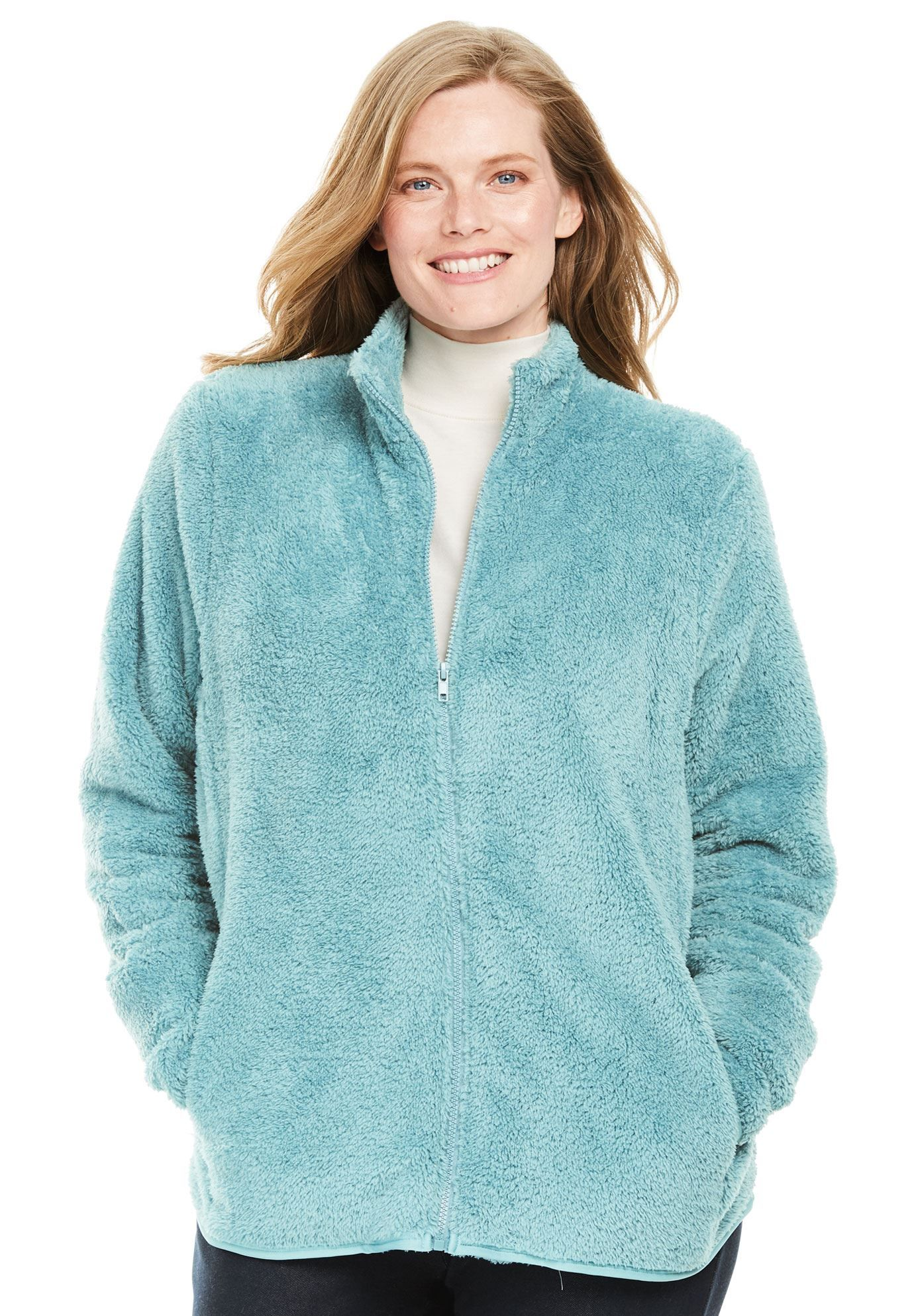 356fdfbd5f7 Fluffy Fleece Jacket - Women s Plus Size Clothing