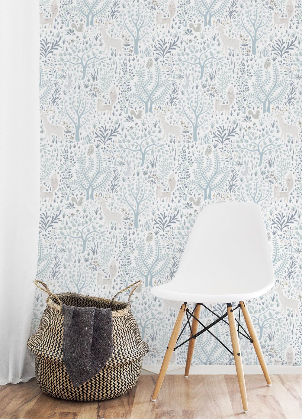 Light Woodland Forest Removable Wallpaper 508 Etsy Removable Wallpaper Nursery Nursery Wallpaper Removable Wallpaper