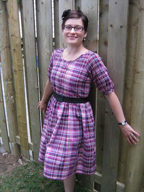 FESA: The Plaid Sorbetto Dress   Flickr - Photo Sharing! I started with the sleeve from The Sew Weekly and drafted it to elbow length.