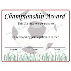 Soccer Championship Award Certificate Soccer Certificates