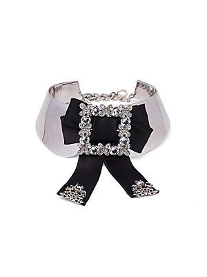 Dolce & Gabbana Embellished Bow Collar - Silver-Black - Size One Size