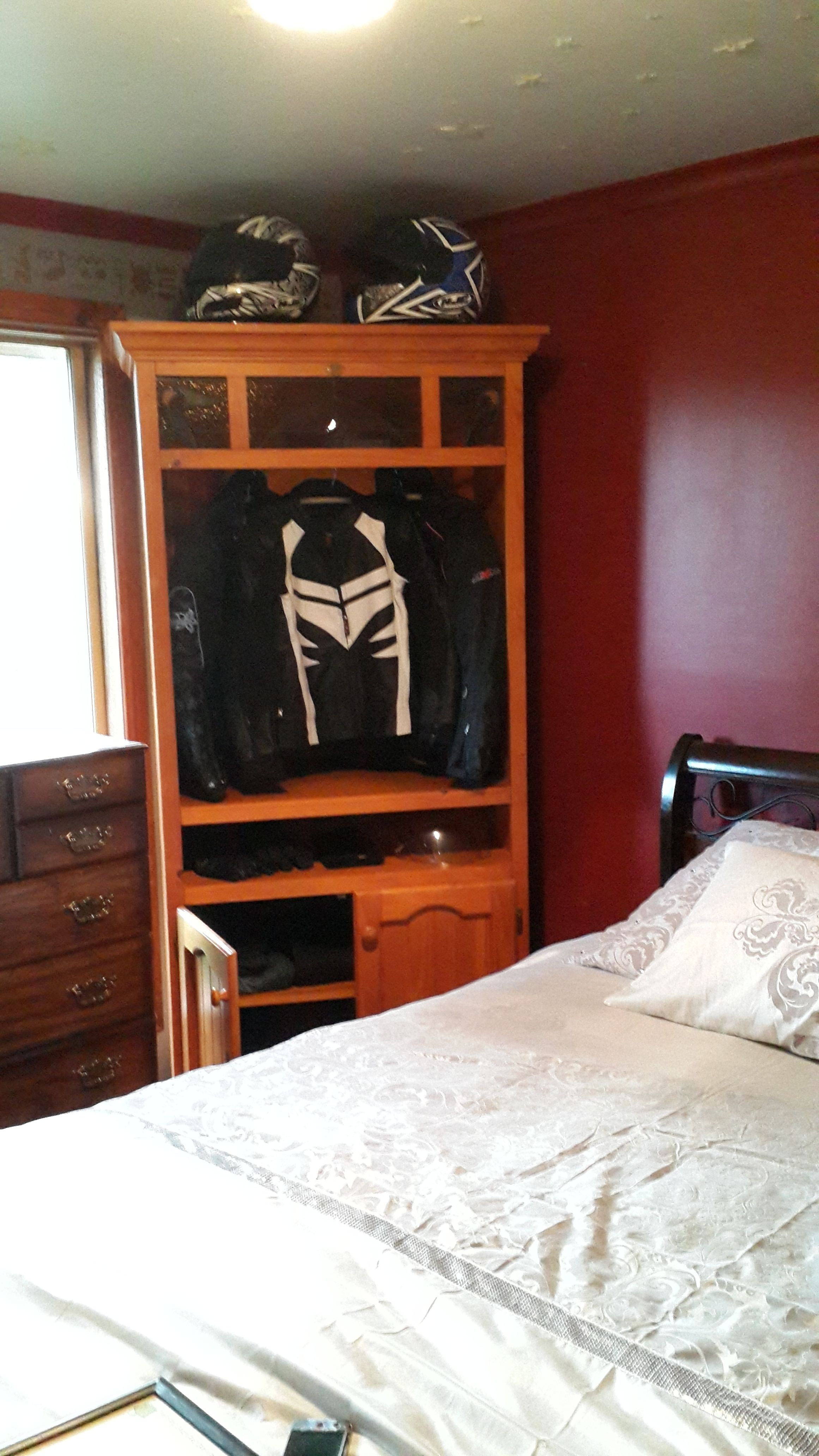 Motorcycle Gear Storage An Old Corner Tv Cabinet For Helmets