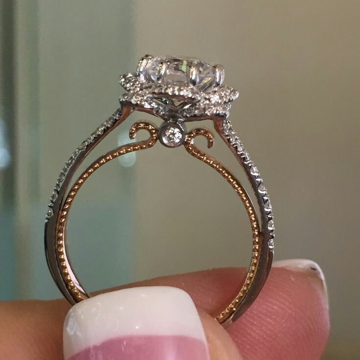 Beads Two Toned Engagement Ring Marriagelicenselove Antique Wedding Rings Wedding Rings Vintage Antique Engagement Rings