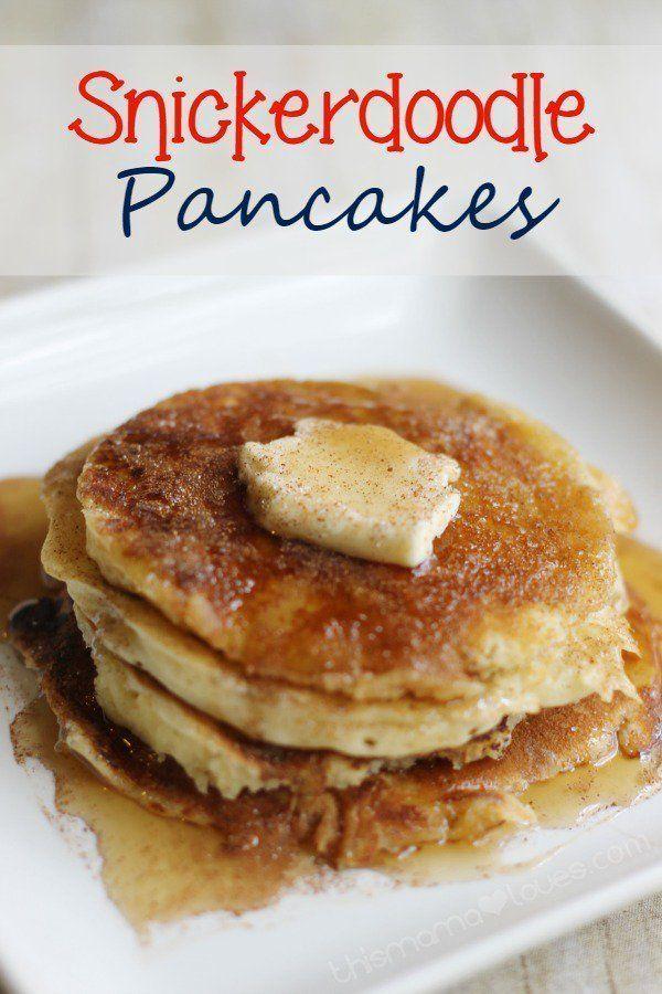 breakfast for dinner #breakfast Snickerdoodle Pancakes | Breakfast for Dinner | Kids Favorite | This Mama Loves #pancakes #snickerdoole #breakfast