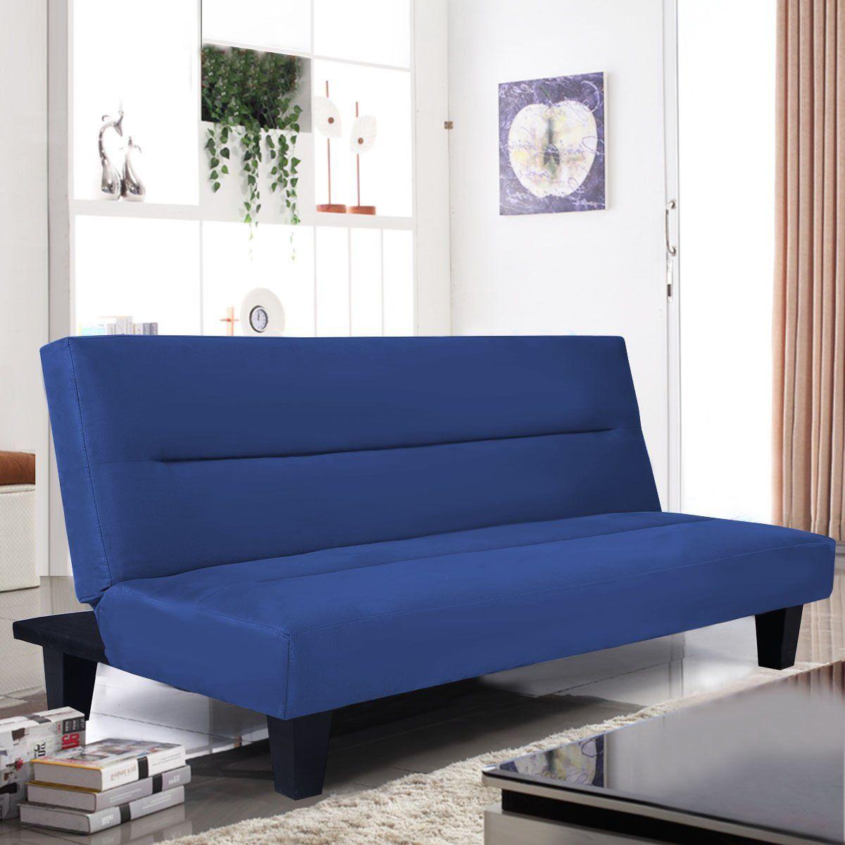 microfiber futon folding couch blue sofa bed w 6 mattress sleep