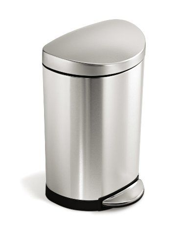 Simplehuman Semi Round Step Trash Can Fingerprint Proof Brushed Stainless Steel 10 Liter 2 6 Gallon Simplehuman Htt Simplehuman Trash Can Kitchen Trash Cans