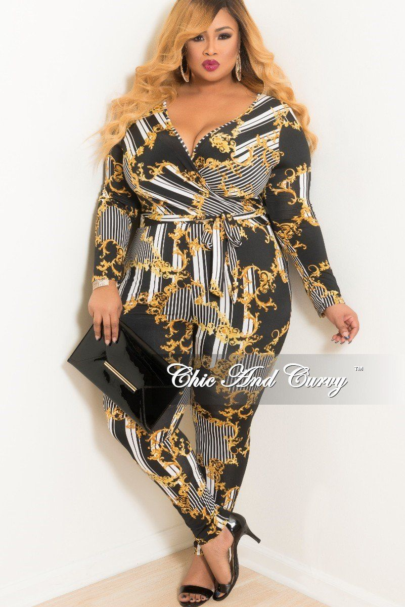 158c7d52e477 Plus Size Long Sleeve Stripe Faux Wrap Jumpsuit with Attached Tie – Chic  And Curvy