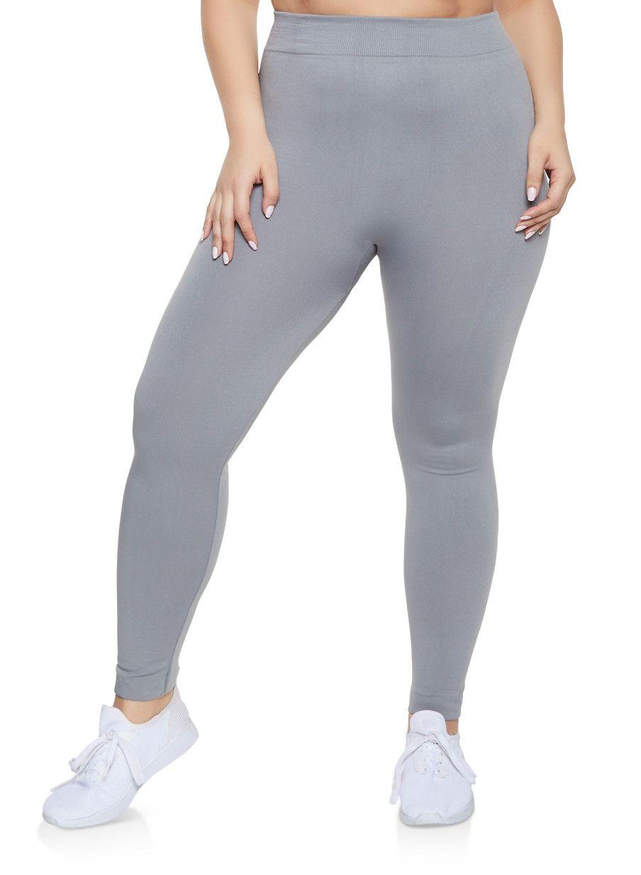 74edded258d Plus Size Fleece Lined Seamless Leggings - Black - Size 2X ...