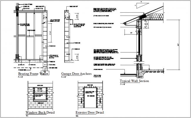 Construction View Of Bearing Frame And Garage Door Anchor Detail Dwg File Hollow Metal Doors Make A Door Masonry Construction