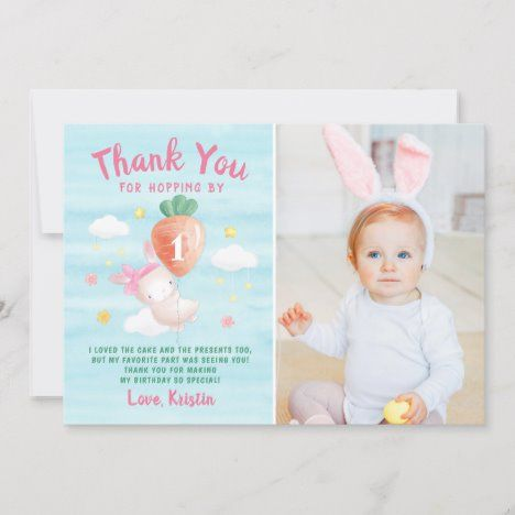 Cute Pink Some Bunny with Carrot Photo Birthday Thank You Card #UniqueGifts #BirthdayGiftsUnique #PersonalizeGifts #ShopCustomizables