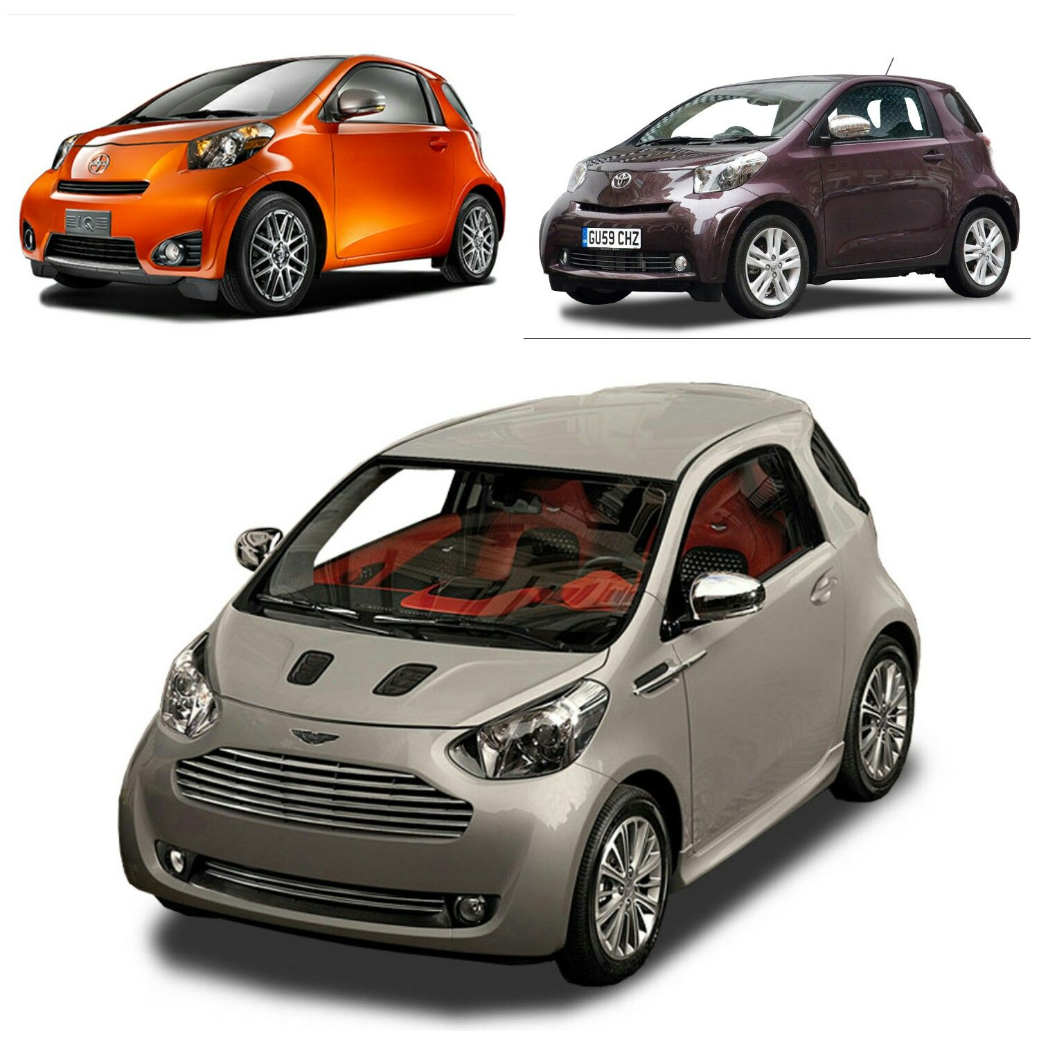 scion iq (top left) - toyota iq (top right) - aston martin cygnet