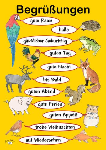 Poster (A3) Begrüßungen Learning french for kids