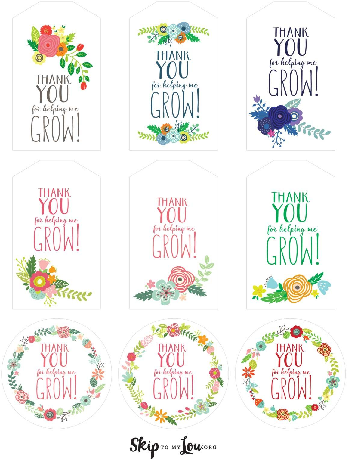 assorted floral thank you for helping me grow printable