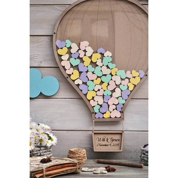 Wedding guestbook Hot Air Balloon Clouds guest book 3D alternative guestbook Sign Drop box guest book wood Air Balloon Basket Baby Shower