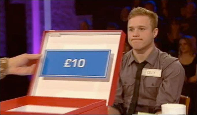 When Olly was on Deal or No Deal and this was what he went home with... Kinda sad but i'm pretty sure he's got plenty more than what the highest amount he could've won was now! haha