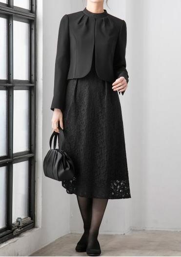 抜け感あるブラックフォーマルでおしゃれに ママの式服ネット ワンピース フォーマル ワークドレス セミフォーマルドレス
