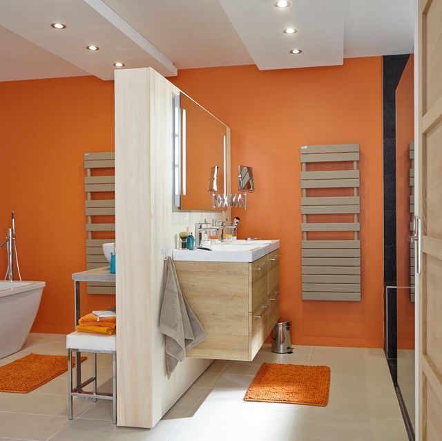 Stunning Salle De Bain Orange Et Blanc Contemporary - Bikeparty.us ...