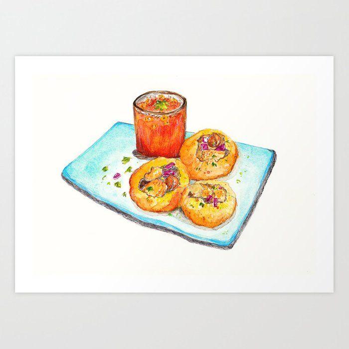Gol Gappa (Indian Street Food series) Art Print by Somali Roy – X-Small