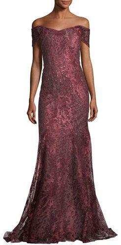 db767f6cd62 Rene Ruiz Off-the-Shoulder Embellished Metallic Tulle Evening Gown ...